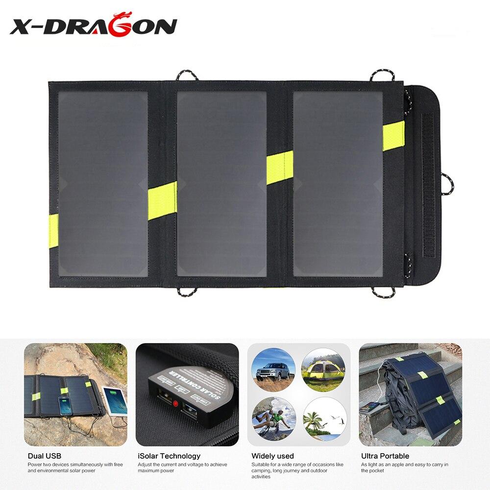 X-DRAGON Alta Eficiência Dobrar Carregador de Painel Solar 5 V 20 W Solares carregador para iPhone iPad Samsung HTC Sony Huawei OnePlus e mais.