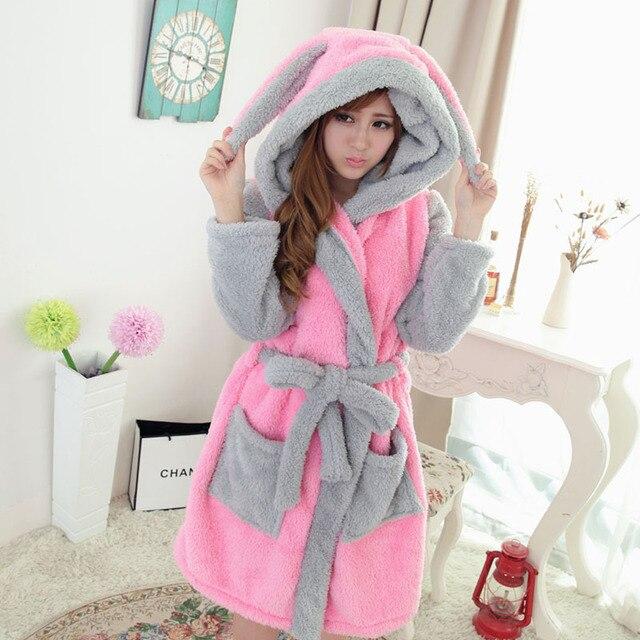 hot Sale Cartoon Panda Winter Lady Pajamas Bath Robe Sleepwear Women Coral  Velvet Bathrobes Women Homewear faa9d07a6