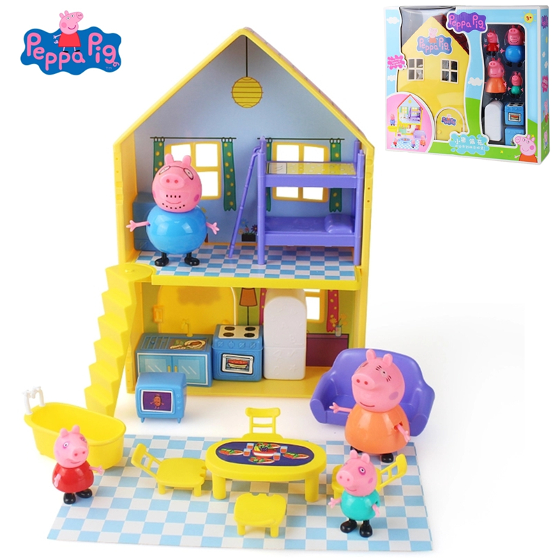 Peppa Pig George Toys House Family Doll Set Gathering Action Figures Anime Early Learning Educational Toys For Children Gift