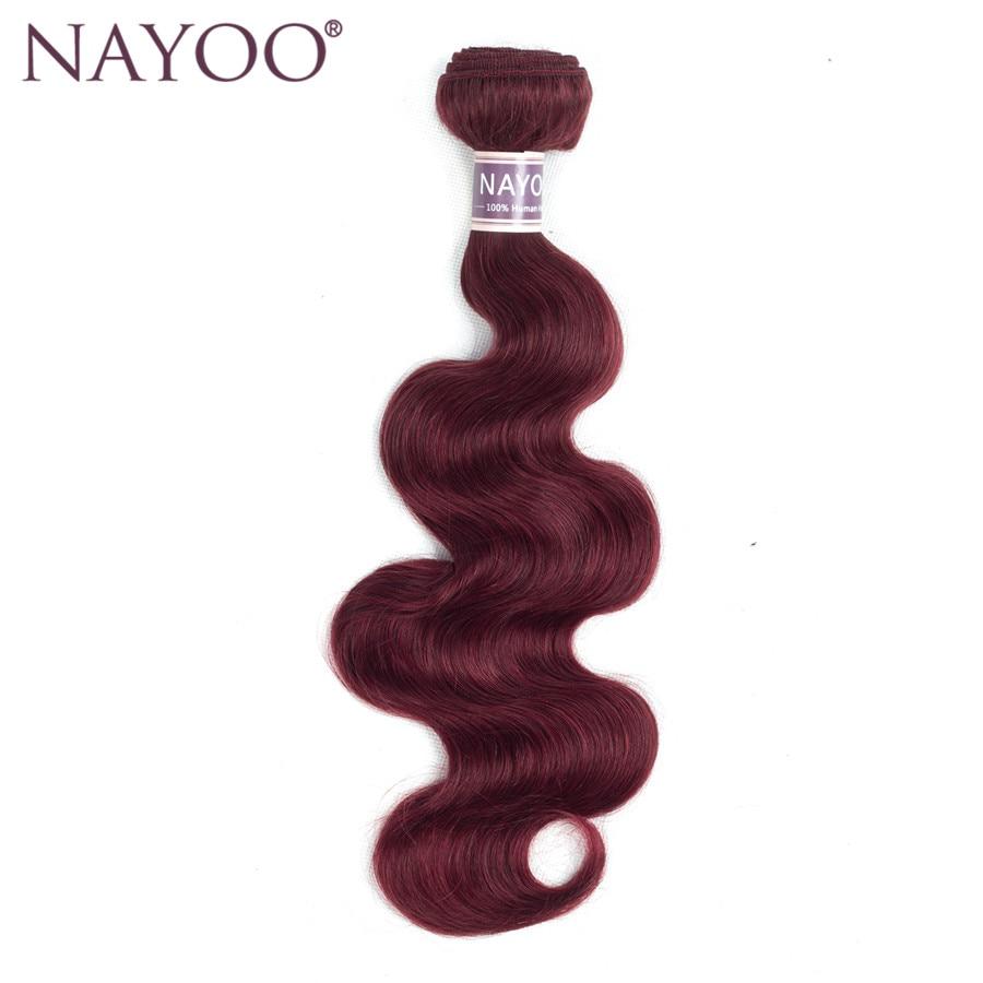 NAYOO Bourgogne brasilianska hårkroppsvåg Non-Remy mänskliga - Mänskligt hår (svart)
