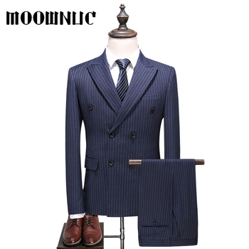 Suits Large Size Double-breasted Business Men Fashion Full Dress Blue 5XL Trousers Vest Classic Three piece set Autumn Stripe