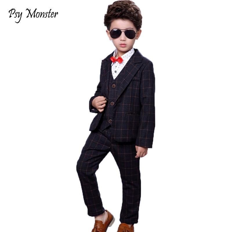 Child School Suits Blazer Pants Vest 3pcs Kids Clothing Set Formal Suit Wedding Flower Boys Piano Performance marriage Costume цена