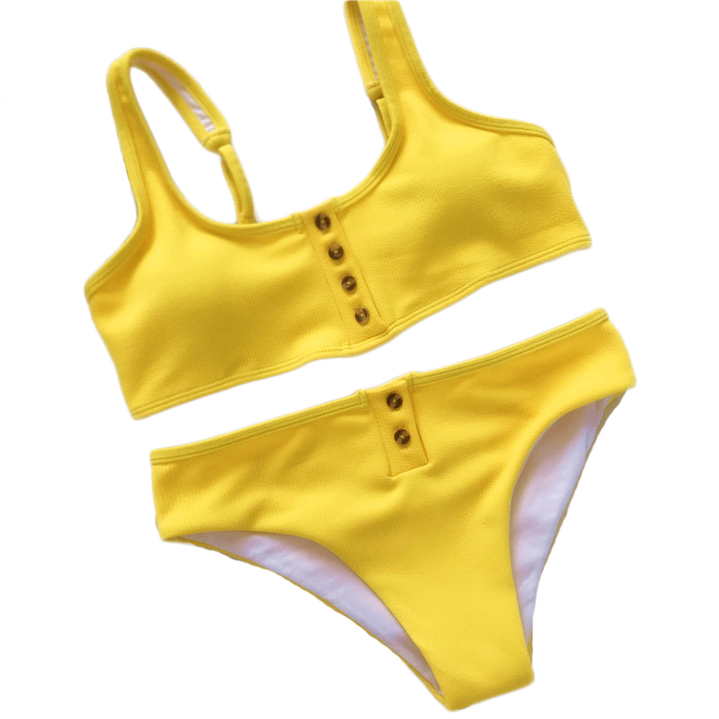 Sexy Brazilian Bikini Womens Button Push-up Swimsuit Summer Plage Beachwear Yellow Swimwear Two pieces