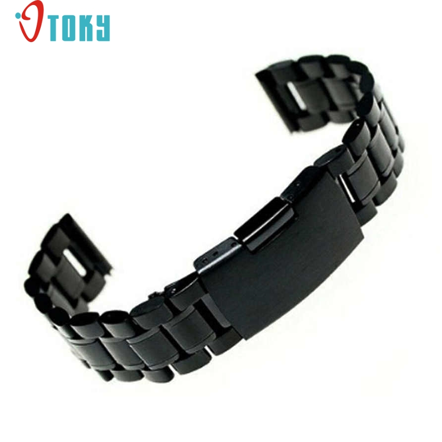 24mm stainless steel bracelet watch strap straight end solid links black color high quality watchbands gift band of watch 38 SUNWARD Hot Unique Stainless Steel Bracelet Watch Band Strap Straight End Solid Links Drop Shipping P40