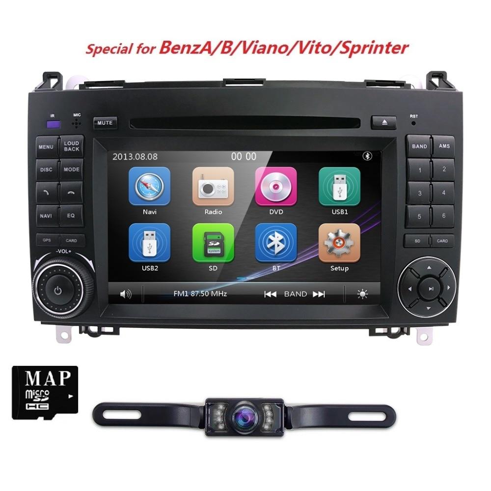 Tactile Capacitif Écran Voiture DVD GPS Pour Mercedes/Benz Classe AB W245 W169 Viano Vito Sprinter B160 B200 stéréo Radio MIROIR LIEN