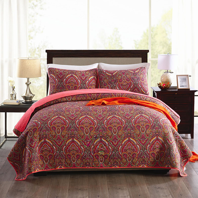 CHAUSUB Paisley Pattern Bedspread Quilt Set 3PCS Coverlet Washed Cotton Quilts Bed Sheet Quilted Bed Cover Shams King Queen Size-in Quilts from Home & Garden    1