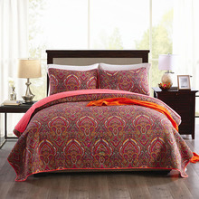 CHAUSUB Paisley Pattern Bedspread Quilt Set 3PCS Coverlet Washed Cotton Quilts Bed Sheet Quilted Cover Shams King Queen Size