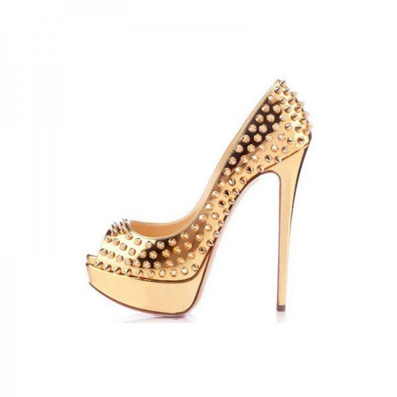 FSJ Summer 2018 Retro Women s Golden Rivets Stiletto Pumps Heels Platform  Stripper Heels Party Dress Evening Shoes Mujer Studded-in Women s Pumps  from Shoes ... 3df3b1ec9616