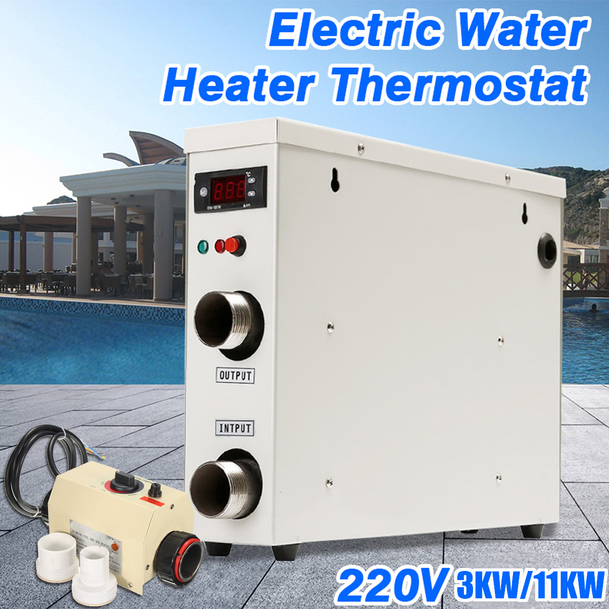 3KW/11KW 220V Electric Swimming Pool Water Sports and SPA Bath Heating Tub Water Heater Thermostat Swimming Pool Accessories цена