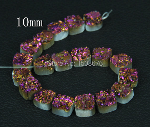 20pcs Purple Titanium Druzy Agate Flat Square Pendant Beads Natural Square Druzy Quartz Cabochons Beads 10mm
