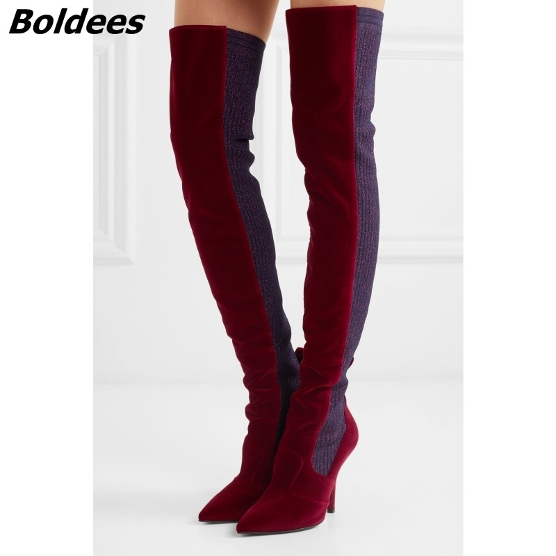 2017 Fashion Woman Velvet Thigh High Boots Thin Heel Over-the-knee Botas Mujer Boots Women Kim Kardashian Rihanna