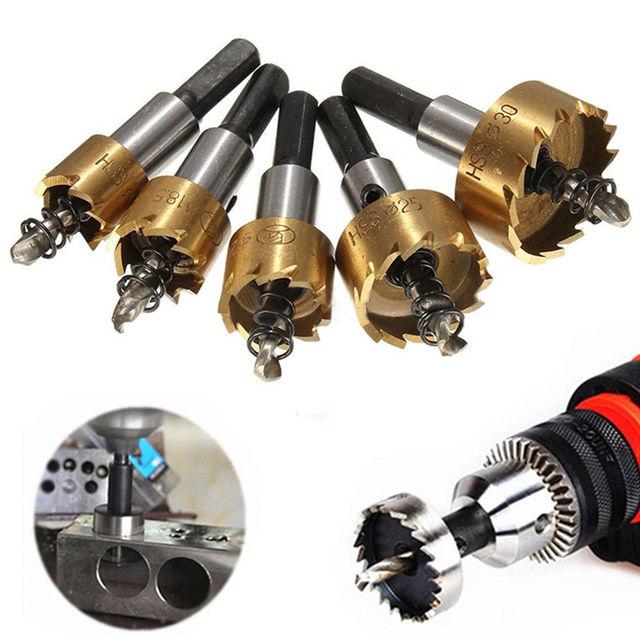 Stainless Steel Metal Alloy Drill Bits Power Tools 16mm,18mm,20mm,25mm,30mm5Pcs HSS M35 Cobalt Drill Bit Hole Saw Set
