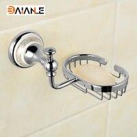 황금 크롬 완료 폴란드어 도자기 자료 비누 네트워크 벽 마운트 비누 욕실 액세서리