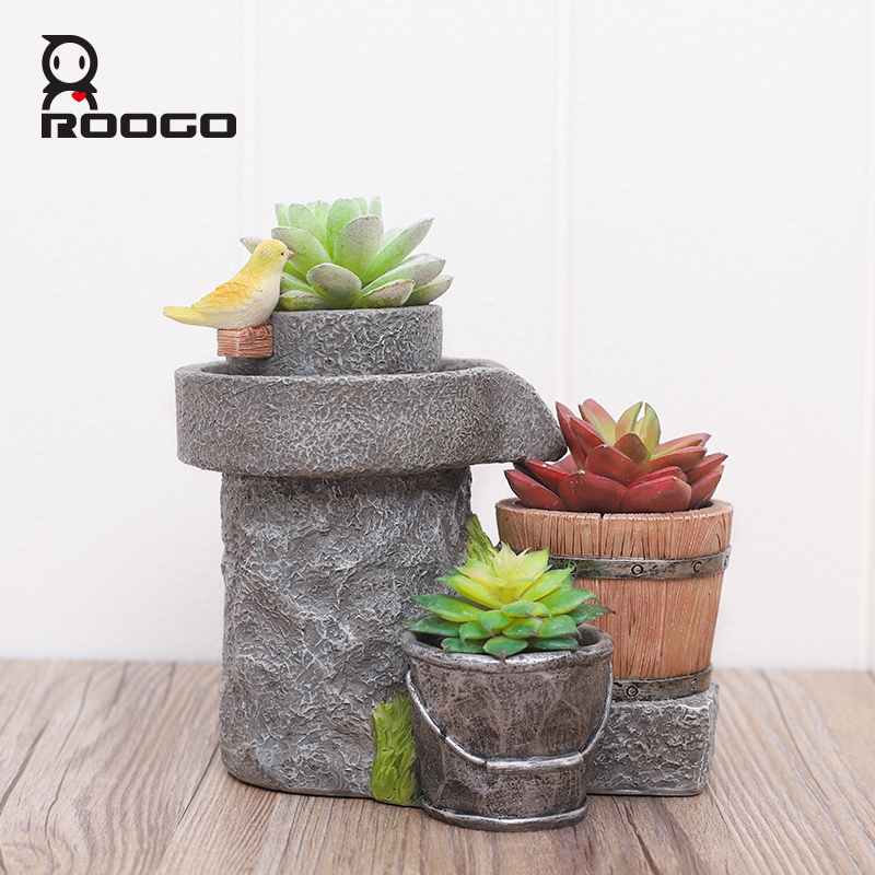 Image 2 - Roogo Antique Flower Pots Chinese Style Home Garden Plant Pot Decorative Flower Pots For Succulents Planter Fairy House-in Flower Pots & Planters from Home & Garden