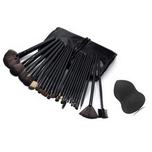 24 Pcs Professional Makeup Brushes Cosmetic Tool Kits Eyeshadow Powder Consealer Lips Foundation Brush Set with Sponge Puff