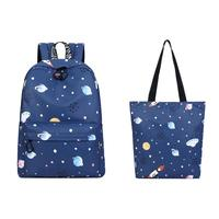 2pcs Kawaii Snowflak Printed School Backpack With Hand Bag For Girls Teenager Planet Women Backpacks Ladies Female Mochila