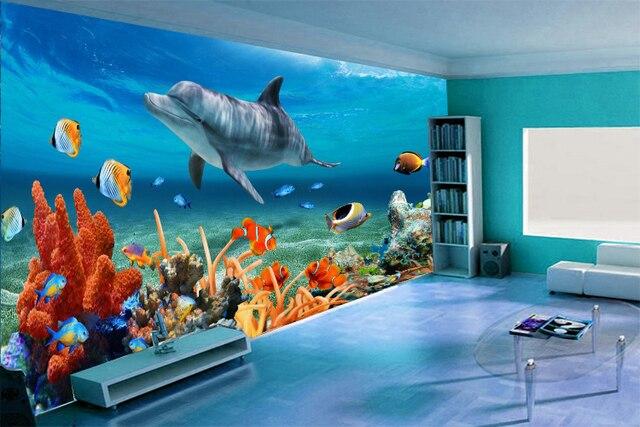 3d gro es wandbild tapete unterwasserwelt meeresfische wohnzimmer kinderzimmer tv. Black Bedroom Furniture Sets. Home Design Ideas