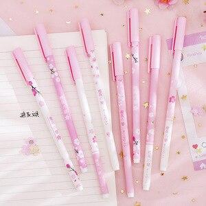 Image 3 - 96 adet/grup 0.38mm Kiraz Sakura Plastik Jel Kalem Imza Kalem Escolar Papelaria Okul Ofis Tedarik Promosyon Hediye