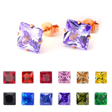 FairLadyHood Rose Color 3-8mm Square crystal cubic zirconia stud earrings for women stainless steel earings  boucles d'oreilles