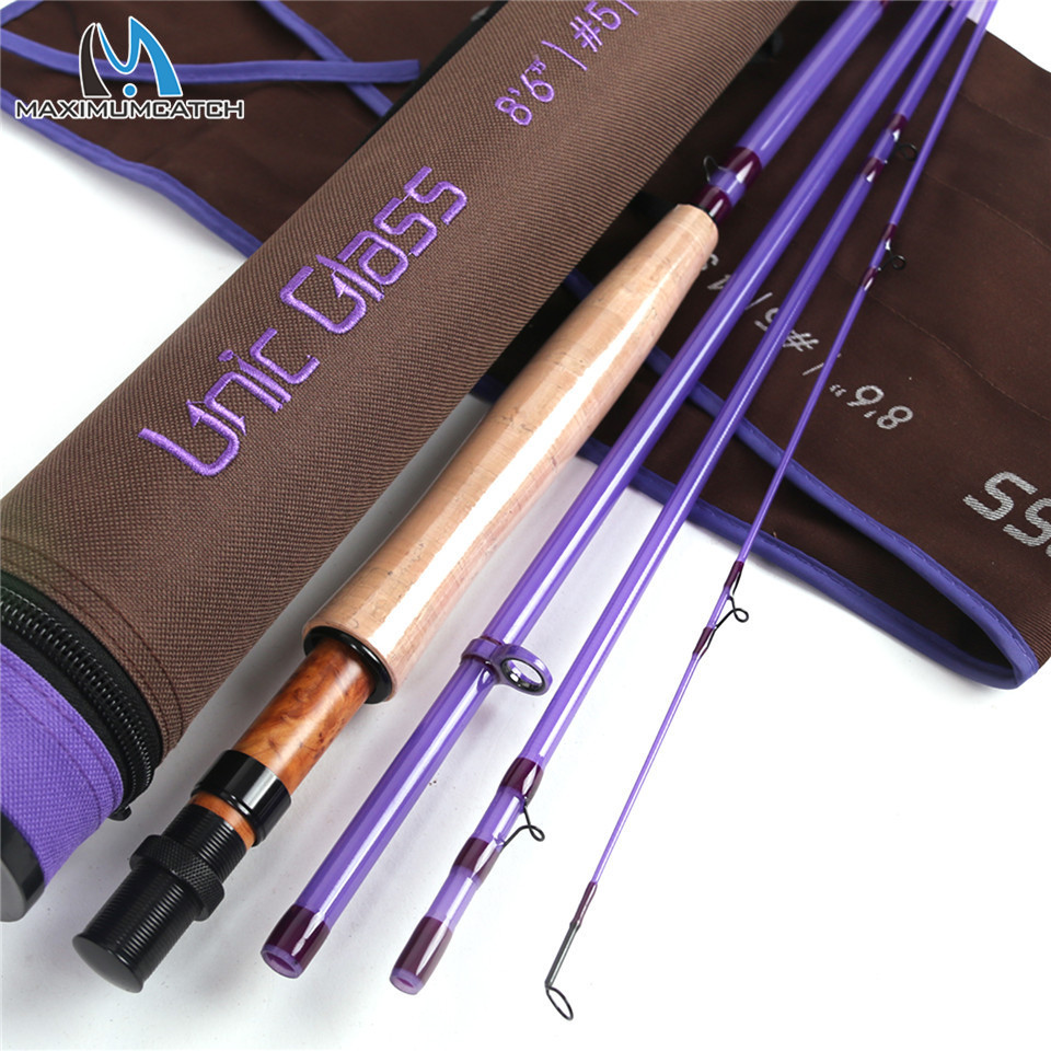 Maximumcatch Unic Fiberglass 3/4/5wt Fly Fishing Rod 7/8/8.6ft Fast Action Carbon Glass Blank Fly Rod Purple Color