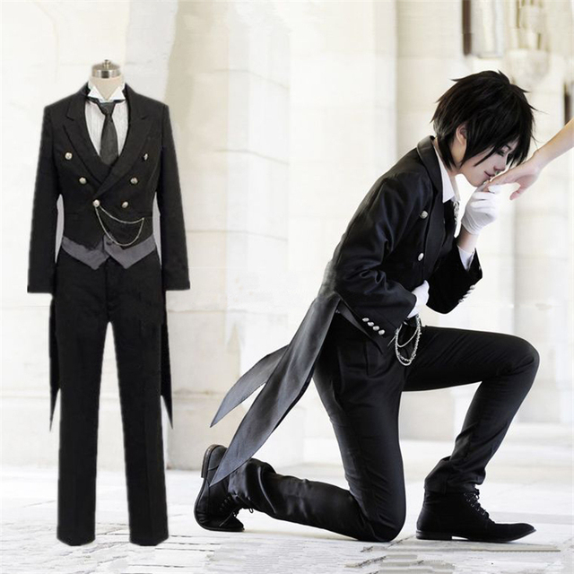 New Anime Black Butler Kuroshitsuji Sebastian Michaelis Cosplay Costume Black Uniform Outfit Halloween Costumes for Women Men