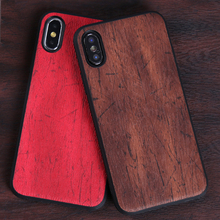 Phone Cases For iPhone X Xs Max Cover PU Leather Wood texture Soft TPU Silicone Case For iPhone 6 6S Plus 7 8 Plus 7p 8p Shell