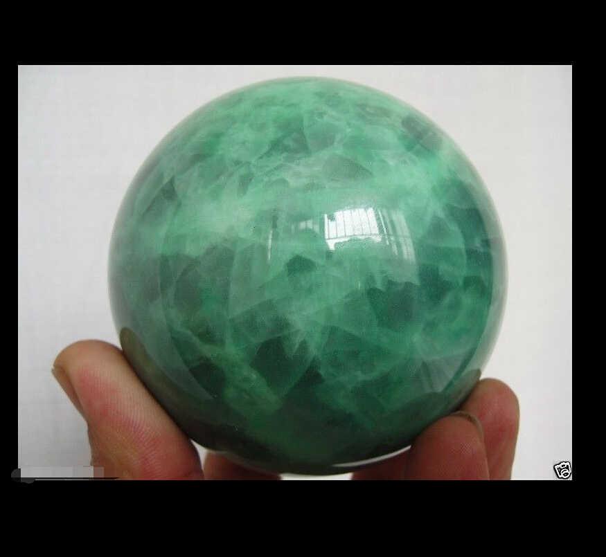 Бесплатная доставка <Новая 65 мм светится в темноте Натуральная Зеленая флюоритовая, Хрустальная лечение шара