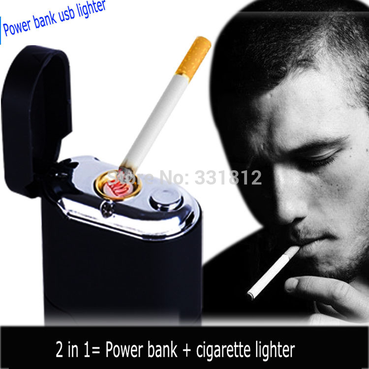 1pc new portable cigarette usb lighter with travel power bank function led flashlight electric cigarette lighter