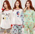 Personagens de Desenhos Animados impressão camisola das mulheres Roupa Interior Casa Terno Sleepwear Outono/Inverno de manga Comprida Calças Pijama