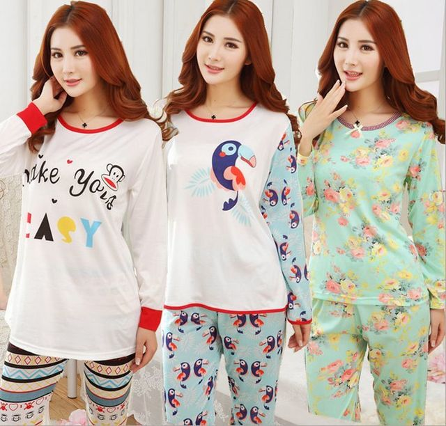 f97f76eed115 Women s nightdress Cartoon characters printing Indoor Clothing Home Suit  Sleepwear Autumn Winter Long sleeve Trousers Pajamas