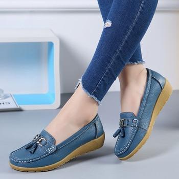 Chaussures bateau femmes mode baskets en cuir véritable chaussures gland frange chaussures décontractées bout rond grande taille 35-44 dames à plat