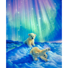 Diy Diamond Painting Cross Stitch Playing Polar Bear Brothers Needlework Embroidery Full Round Mosaic Decoration Resin