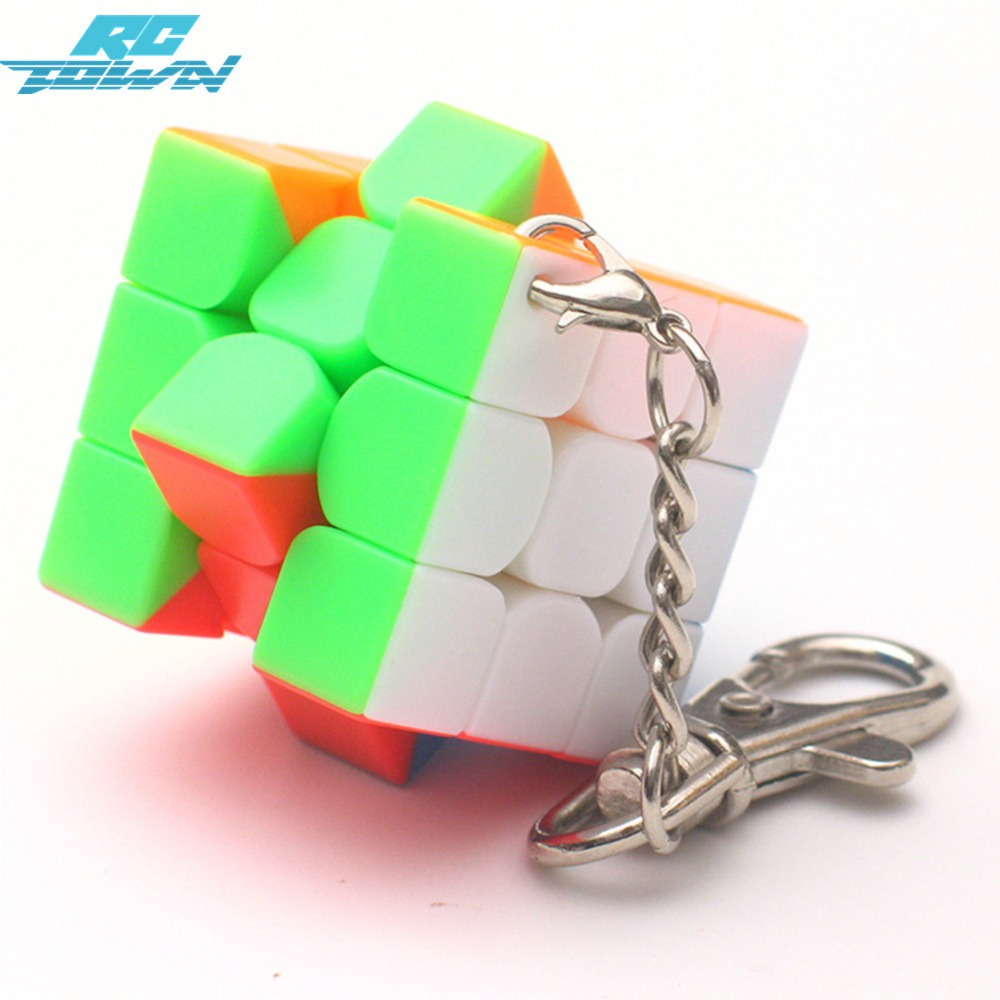 RCtown 3cm Mini Small Magic Cube Key Chain Smart Cube Toy & Creative Key Ring Decoration zk25 new arrival 6pcs 1set 3cm hand sized anime pokeball key chain ring abs toy super master children toy juguetes original box