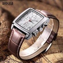 Baogela Mens Chronograph Watch Luminous Waterproof Quartz Watches Leather Band Rectangle Dial With Calendar Date Male Wristwatch