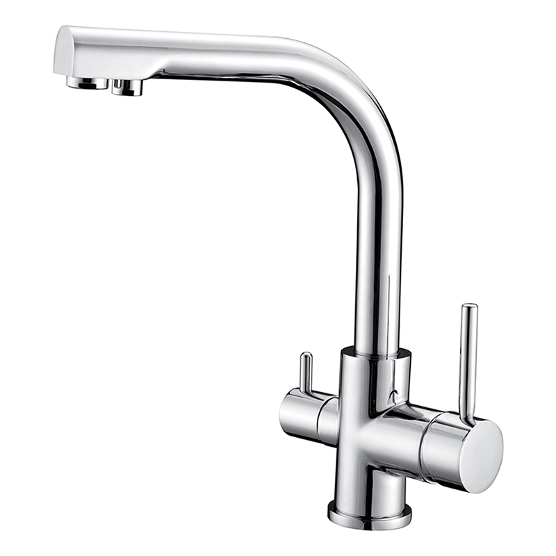 Pure Brass Kitchen Faucet Chrome Swivel Dual Handle Kitchen Sink Mixer Tap Kitchen Faucet Vanity Filter Drinking Water Faucet single handle water purifier faucet kitchen swivel basin sink faucet vanity faucet brass mixer tap chrome crane cocina hj 0174