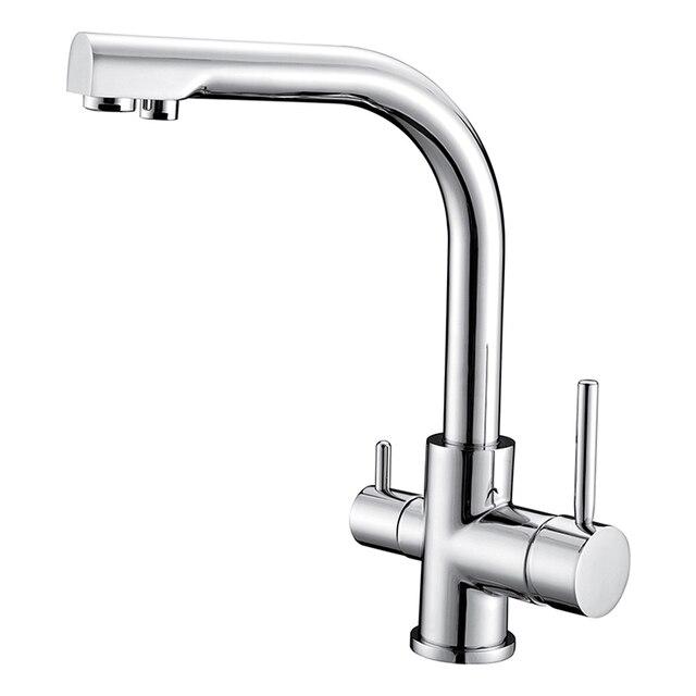 Pure Brass Kitchen Faucet Chrome Swivel Dual Handle Kitchen Sink ...