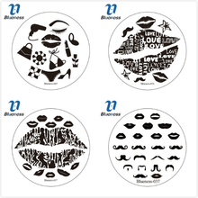 Blueness 72 Designs Nail Art Plate Stamp Stamping Set Sexy lip Pattern Stencils Nail Stamping Plates Water Decals Nail Art Tool