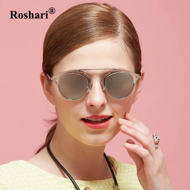 522d96b931b RoShari Vintage Cat Eye Sunglasses women polarized Metal Frame silver  Mirror polaroid sun glasses women gafas