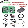 DHL Livre Mais Novo V2.3 KESS V2 Kit OBD2 ECU Tuning Chip ilimitado Tokens V4.036 V2.3 Mestre Versão ECU Programador KESS KESS V2