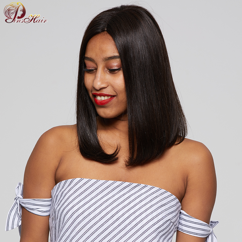 150% Density Short Bob Wigs For Black Women Natural Black Peruvian Human Hair Straight Lace Wigs With Baby Hair Pinshair Nonremy