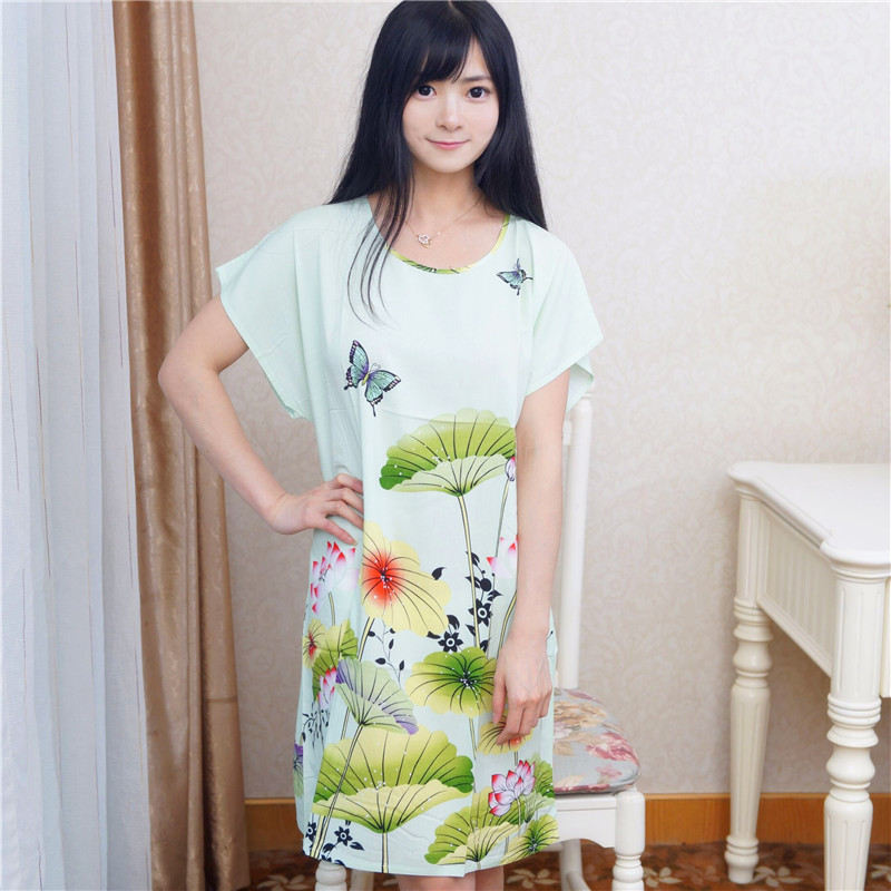 Summer New Female Cotton Sleepwear Nightdress Chinese Womens Cotton Robe Bath Gown Print Flower Sleepshirts A-120