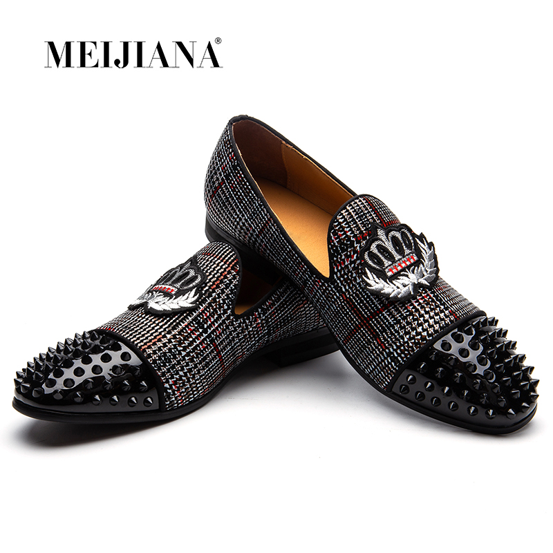 MEIJIANA Black Spikes Rhinestones Glitter Men Loafers Smoking Slipper Casual Shoes Wedding Dress Men s Flats