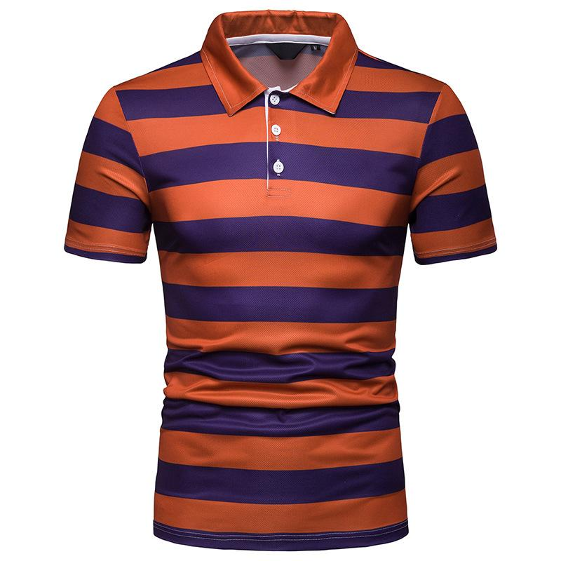 Casual Men   Polo   Shirt Striped Slim Lapel Short sleeve Casual   Polo   Shirt Men's Clothing Summer Tops Business Casual Tees