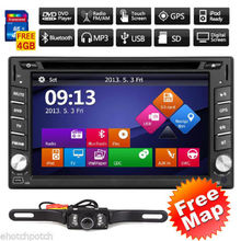 GPS Navigation HD Touch Screen Car DVD Double 2DIN in-dash Built-in GPS Car Stereo DVD Player Bluetooth iPod MP3 TV+Rear Camera