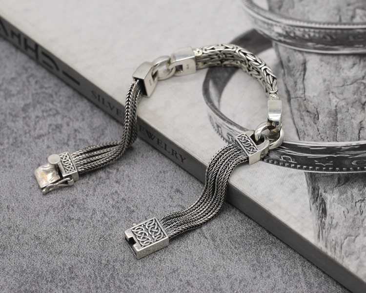 2019 браслеты из стерлингового серебра 925 пробы для мужчин и женщин, винтажные S925 Твердые тайские серебряные браслеты на цепочке, модные ювели... - 3
