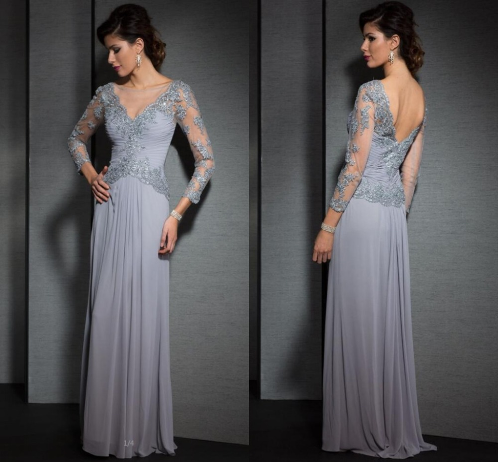 elegant sliver lace beads long sleeves evening dresses