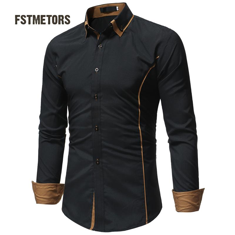 2018 FSTMETORS autumn fashion man shirt cultivate one's morality into the color double led leisure men long sleeve shirt
