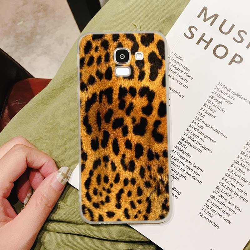 Silicone Case 2018 Leopard print Printing for Samsung Galaxy j8 j7 j6 j5 j4 j3 Plus Prime 2018 2017 2016 Case Cover in Fitted Cases from Cellphones Telecommunications