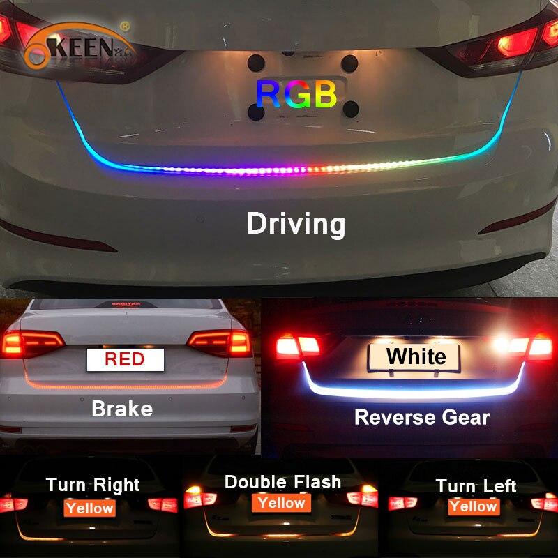 OKEEN ámbar señal de flujo led baúl de luz de tira de puerta trasera equipaje 12 V coche lámpara trasera dinámica Streamer flotante RGB tira de led