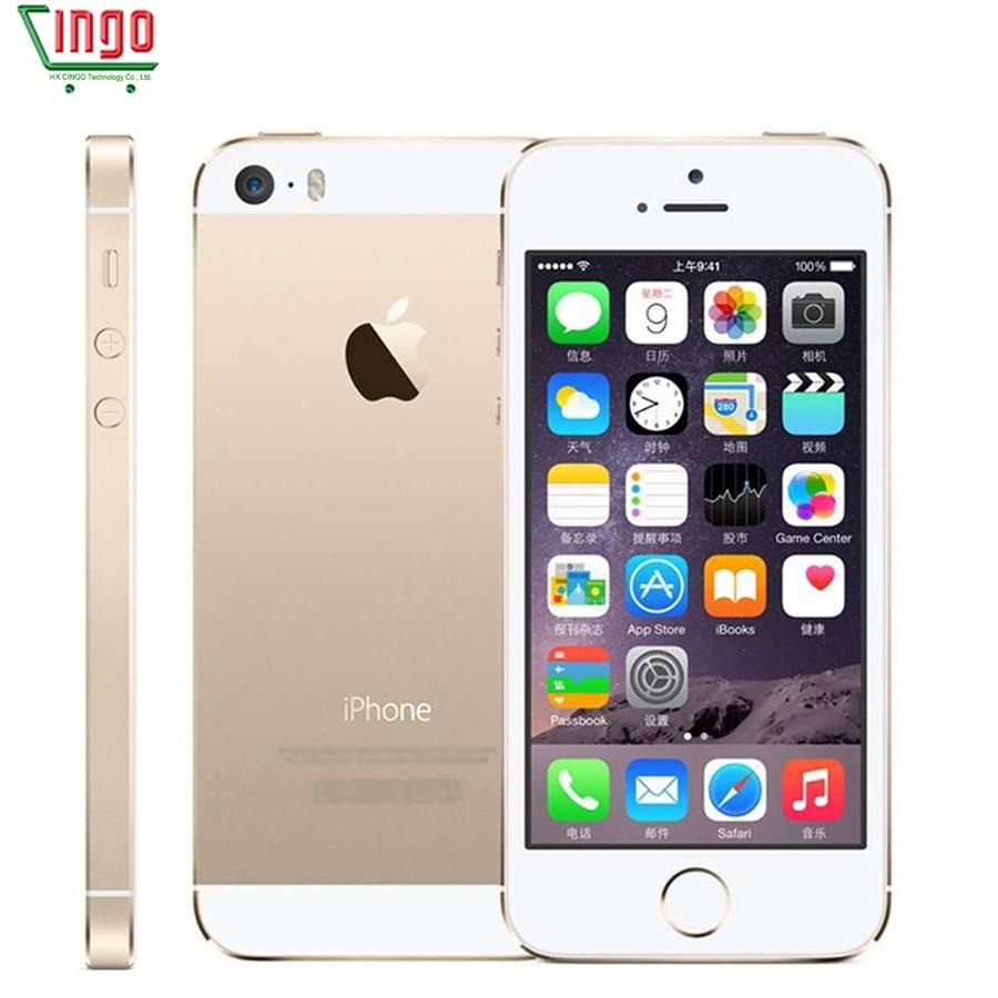 Factory Unlocked iPhone 5s 16GB/32GB/64GB ROM 8.0MP Camera 1136x640 pixel WIFI GPS Bluetooth Fingerprint Cell Phone